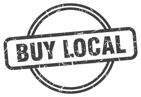 buy local vintage stamp. buy local sign Ilustração Vetorial