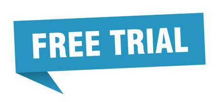 fumetto di prova gratuita. segno di prova gratuita. banner di prova gratuito