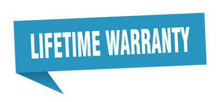 lifetime warranty speech bubble. lifetime warranty sign. lifetime warranty banner Stock Vector - 124885470