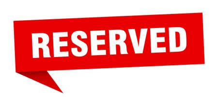 reservierte Sprechblase. reserviertes Zeichen. reserviertes Banner Vektorgrafik
