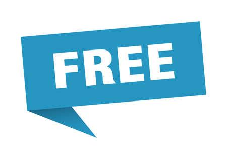 free speech bubble. free sign. free banner Illustration