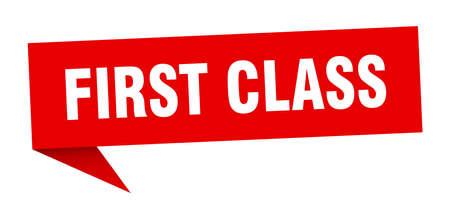 first class speech bubble. first class sign. first class banner