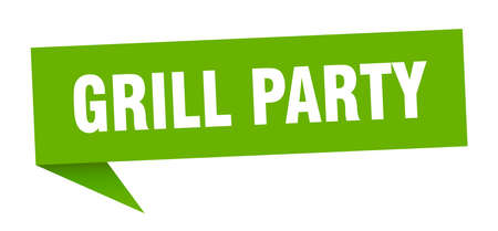 grill party speech bubble. grill party sign. grill party banner Ilustrace