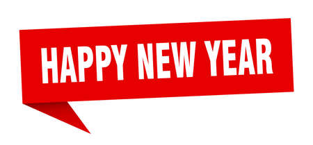 happy new year speech bubble. happy new year sign. happy new year banner Ilustrace