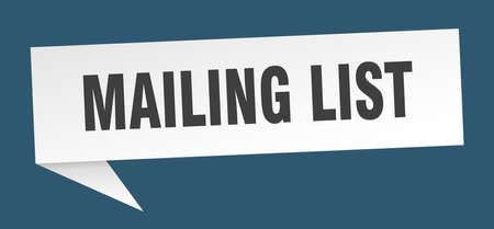 mailing list speech bubble. mailing list sign. mailing list banner Illustration