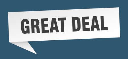 great deal speech bubble. great deal sign. great deal banner
