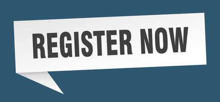 register now speech bubble. register now sign. register now banner Banque d'images - 124939680