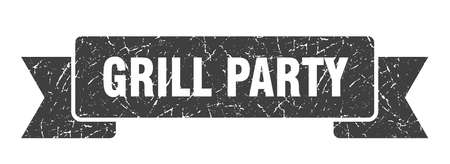 grill party grunge ribbon. grill party sign. grill party banner Çizim