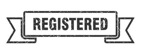 registered grunge ribbon. registered sign. registered banner