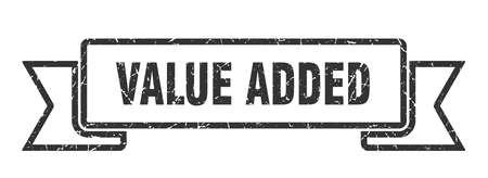 value added grunge ribbon. value added sign. value added banner Ilustração