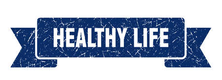 healthy life grunge ribbon. healthy life sign. healthy life banner Иллюстрация