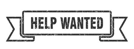 help wanted grunge ribbon. help wanted sign. help wanted banner Ilustracja