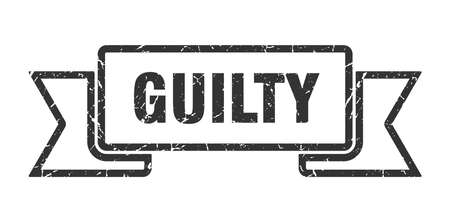guilty grunge ribbon. guilty sign. guilty banner