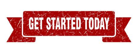 get started today grunge ribbon. get started today sign. get started today banner Stock Illustratie