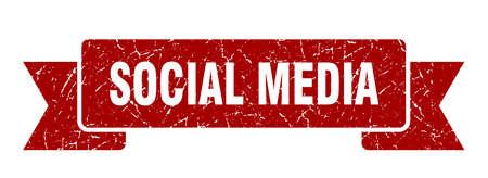social media grunge ribbon. social media sign. social media banner