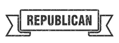 republican grunge ribbon. republican sign. republican banner Ilustracja