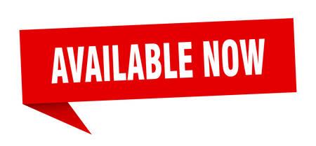 jetzt verfügbar Sprechblase. jetzt verfügbar unterzeichnen. jetzt verfügbar banner Vektorgrafik