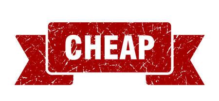 cheap grunge ribbon. cheap sign. cheap banner Ilustrace