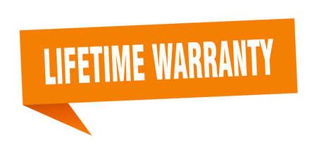 lifetime warranty speech bubble. lifetime warranty sign. lifetime warranty banner Stock Vector - 125058958