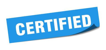 certified square sticker. certified sign. certified banner