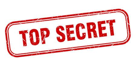 Timbre isolé grunge carré top secret. signe top secret Vecteurs