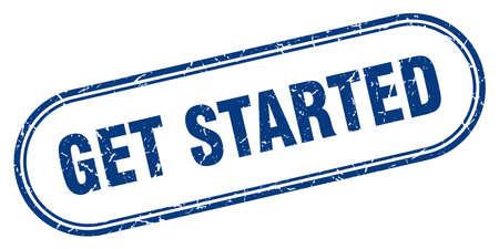 get started stamp. get started square grunge sign. get started