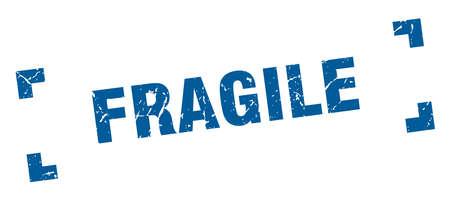 zerbrechlicher Stempel. zerbrechliches quadratisches Grunge-Zeichen. fragil Vektorgrafik