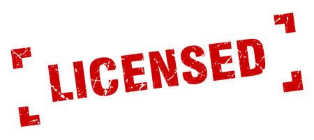 licensed stamp. licensed square grunge sign. licensed Illustration
