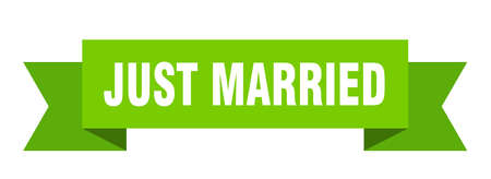 just married ribbon. just married isolated sign. just married banner