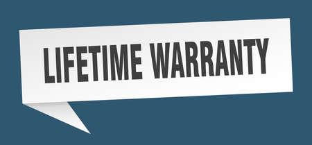 lifetime warranty speech bubble. lifetime warranty sign. lifetime warranty banner Illustration