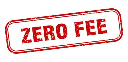 zero fee stamp. zero fee square grunge sign. zero fee Çizim