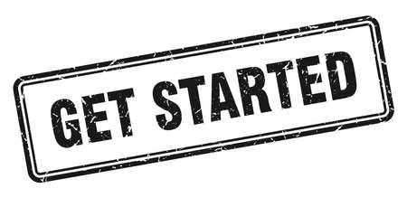 get started stamp. get started square grunge sign. get started Stock Illustratie
