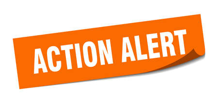action alert sticker. action alert square isolated sign. action alert
