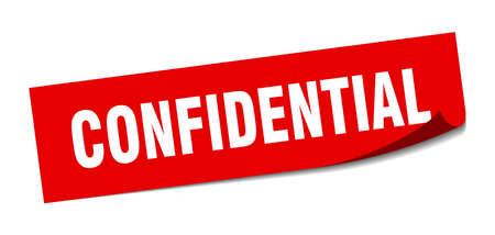 autocollant confidentiel. signe isolé carré confidentiel. confidentiel