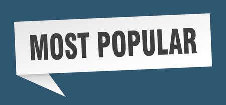 beliebteste Sprechblase. beliebtestes Zeichen. beliebteste Banner Vektorgrafik