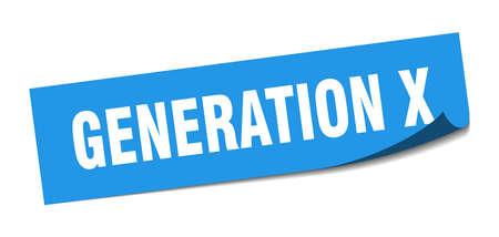 pegatina generación x. Generación x signo cuadrado aislado. generacion X