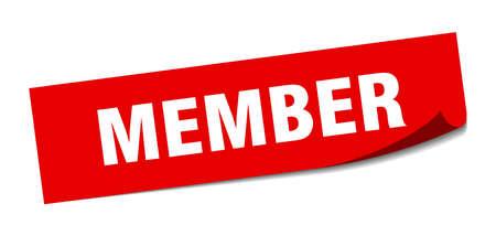 Mitgliedsaufkleber. Mitglied quadratisches isoliertes Zeichen. Mitglied Vektorgrafik