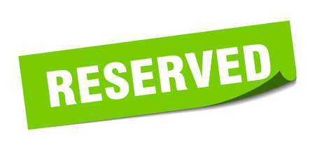 reservierter Aufkleber. reserviertes quadratisches isoliertes Zeichen. reserviert