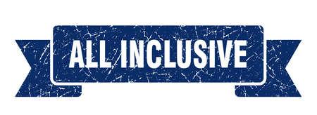 all inclusive grunge ribbon. all inclusive sign. all inclusive banner Illustration