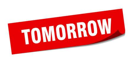 autocollant de demain. signe isolé de demain carré. demain