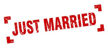 gerade verheirateter Stempel. gerade verheiratetes quadratisches Grunge-Zeichen. gerade geheiratet Vektorgrafik