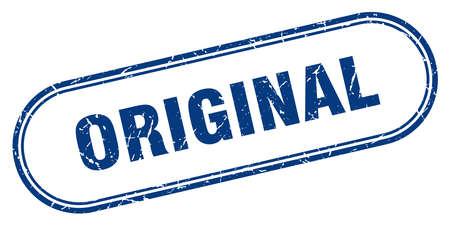 sello original. signo de grunge cuadrado original. original