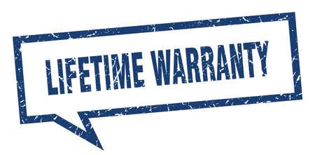 lifetime warranty sign. lifetime warranty square speech bubble. lifetime warranty Illustration