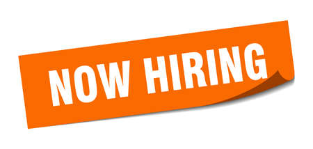 now hiring sticker. now hiring square isolated sign. now hiring