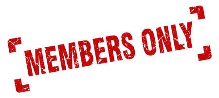 Nur Mitglieder stempeln. Mitglieder nur quadratisches Grunge-Zeichen. nur für Mitglieder
