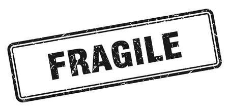 sello frágil. signo de grunge cuadrado frágil. frágil Ilustración de vector