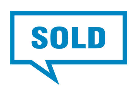sold sign. sold square speech bubble. sold Ilustração