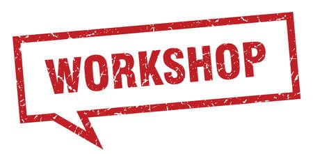 workshop sign. workshop square speech bubble. workshop Illustration