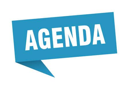 Agenda-Sprechblase. Tagesordnungszeichen. Agenda-Banner
