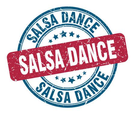 sello de baile de salsa. baile de salsa, ronda, grunge, señal. baile de salsa